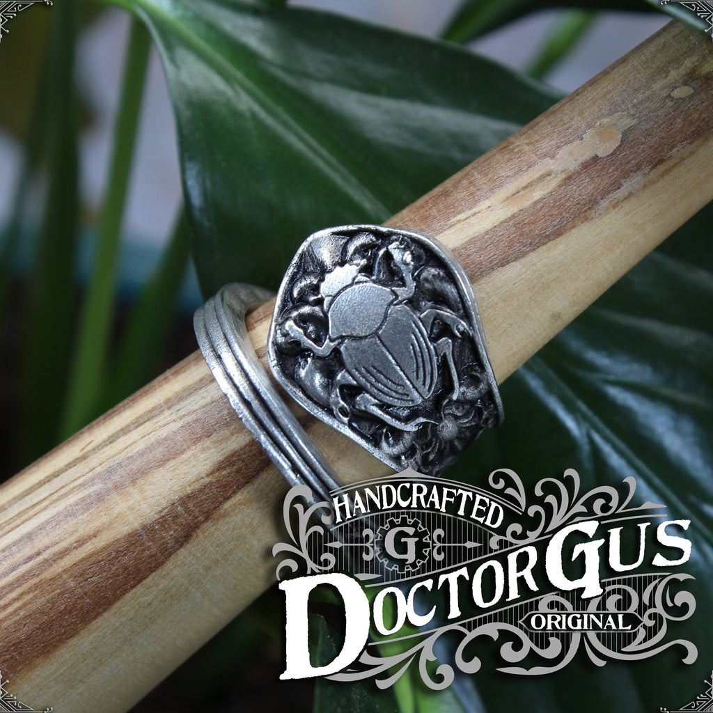 Scarab Ring - Adjustable - Wrap Style - Handcrafted Pewter by Doctor Gus - Beautiful Antique Inspired Insect Ring