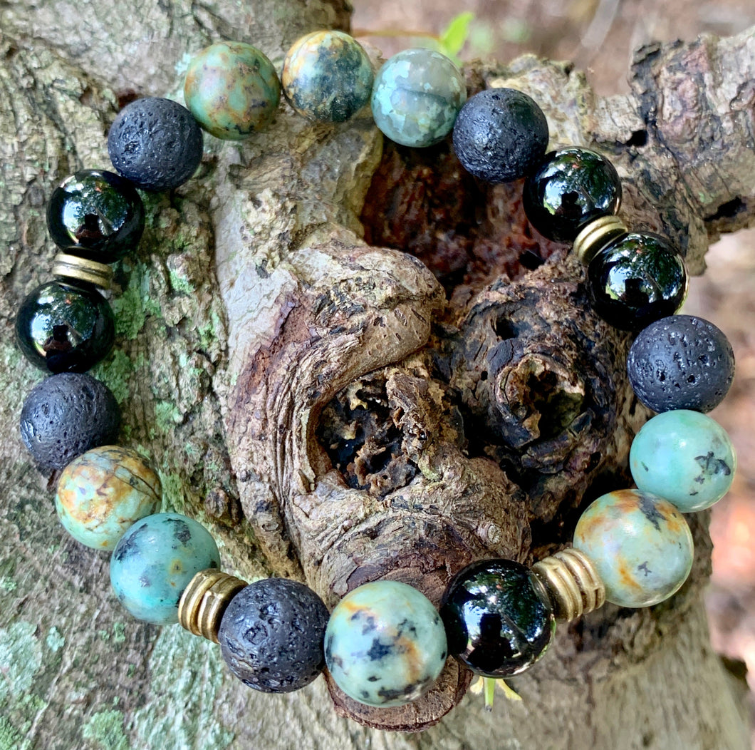 African Turquoise and Black Agate