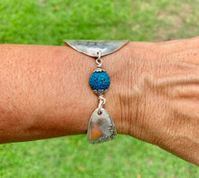 Load image into Gallery viewer, Spoon and handle TEAL-DYED LAVA ROCK bracelet