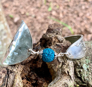 Spoon and handle TEAL-DYED LAVA ROCK bracelet