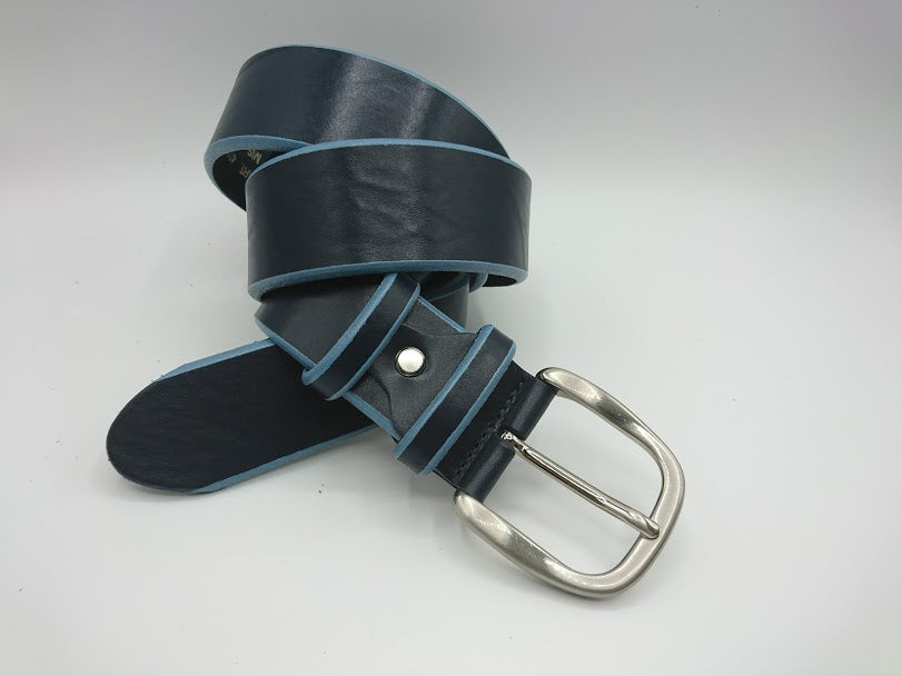 Light Blue Edge Leather Belt