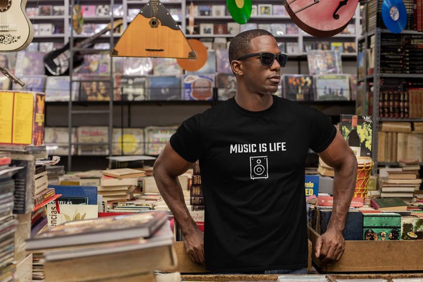 Music is Life Black Unisex Men's T-shirt