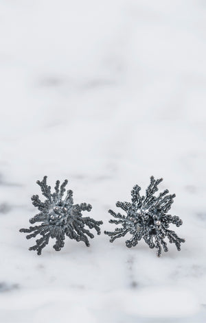 Acropora Earrings Sterling silver oxidized
