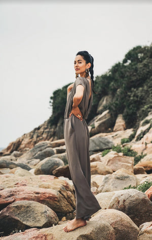 La Paz in Khaki Jumpsuit