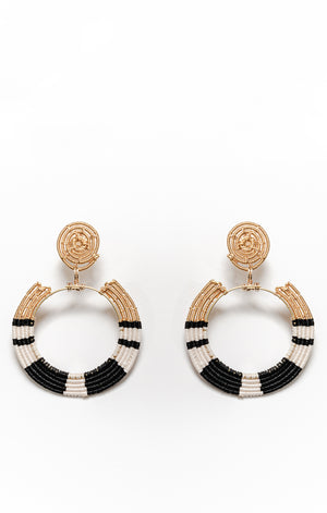 Tybza Earrings Black and White