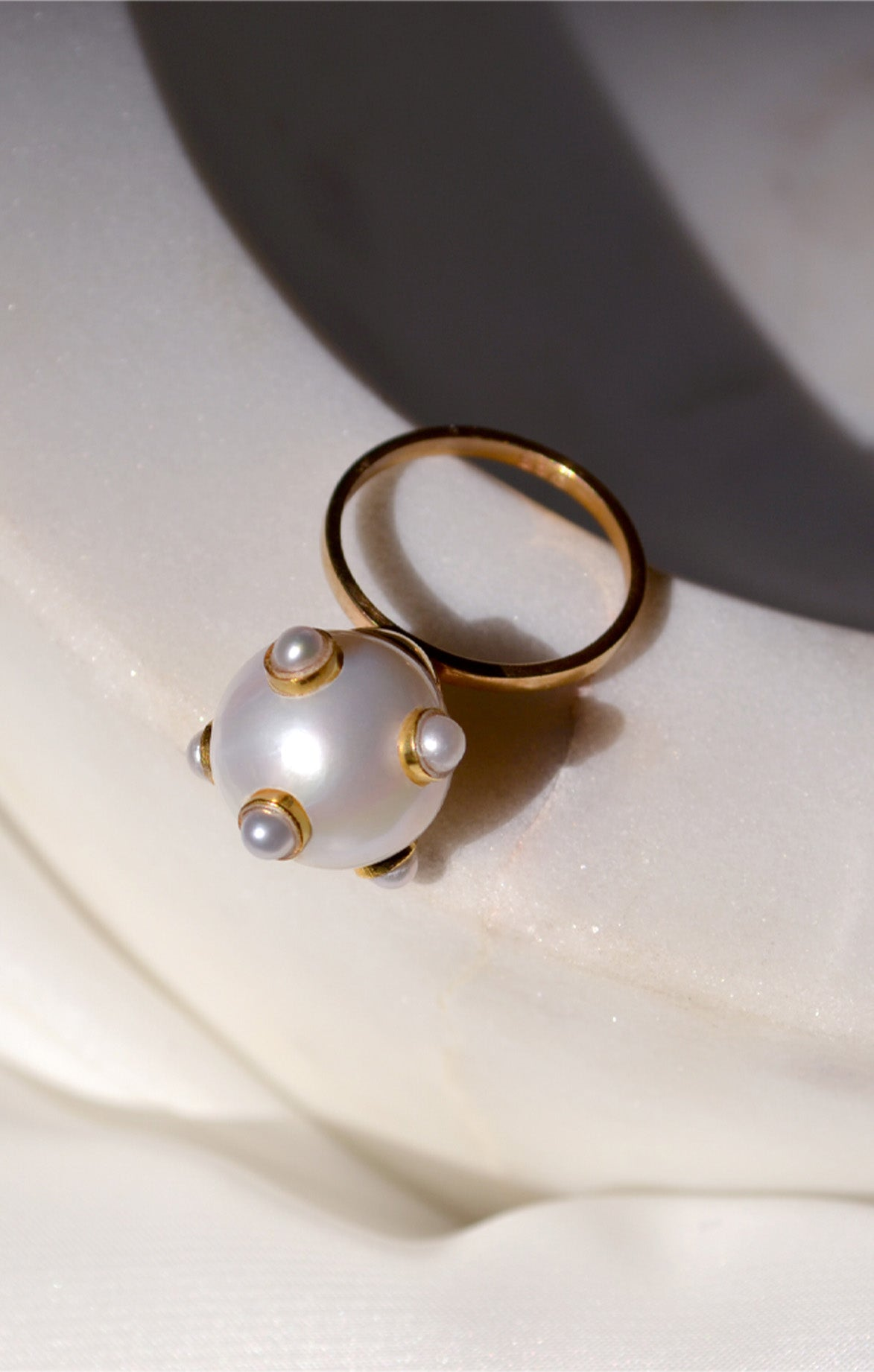 Pearl 5 Pearls Golden Ring