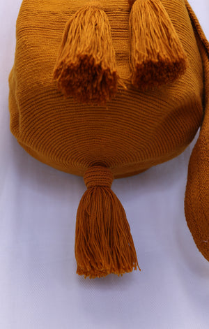Orange Pom Pom Wayuu Bag