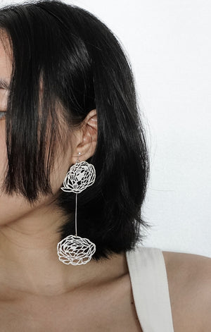 Classic Peonies Mismatched Earrings