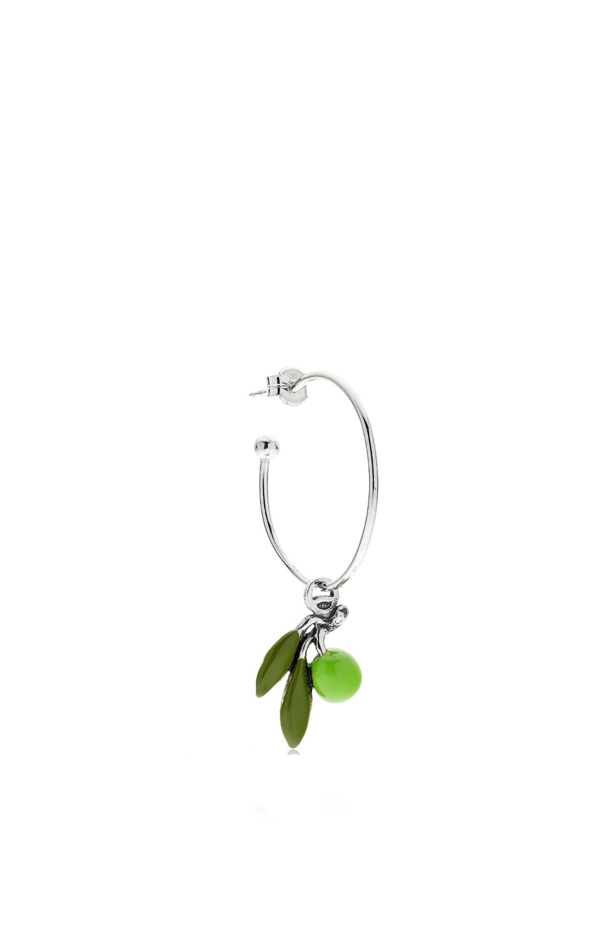 The Large Hoop Single Earring with Olive Charm
