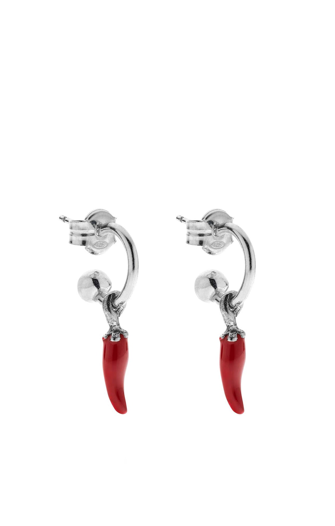 The Small Hoop Earrings with Mini Red Chili Pepper Charm