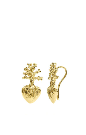 Frida Kahlo Heart Gold Earrings