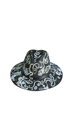 One Line Black Connection Fedora Hat