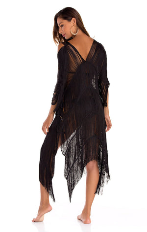 Arezzo Cover Up Handmade Poncho Black