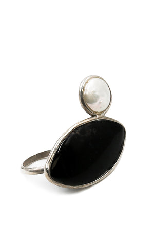 Onyx and Pearl Double Ring