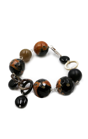 Black and Orange Agate Bracelet