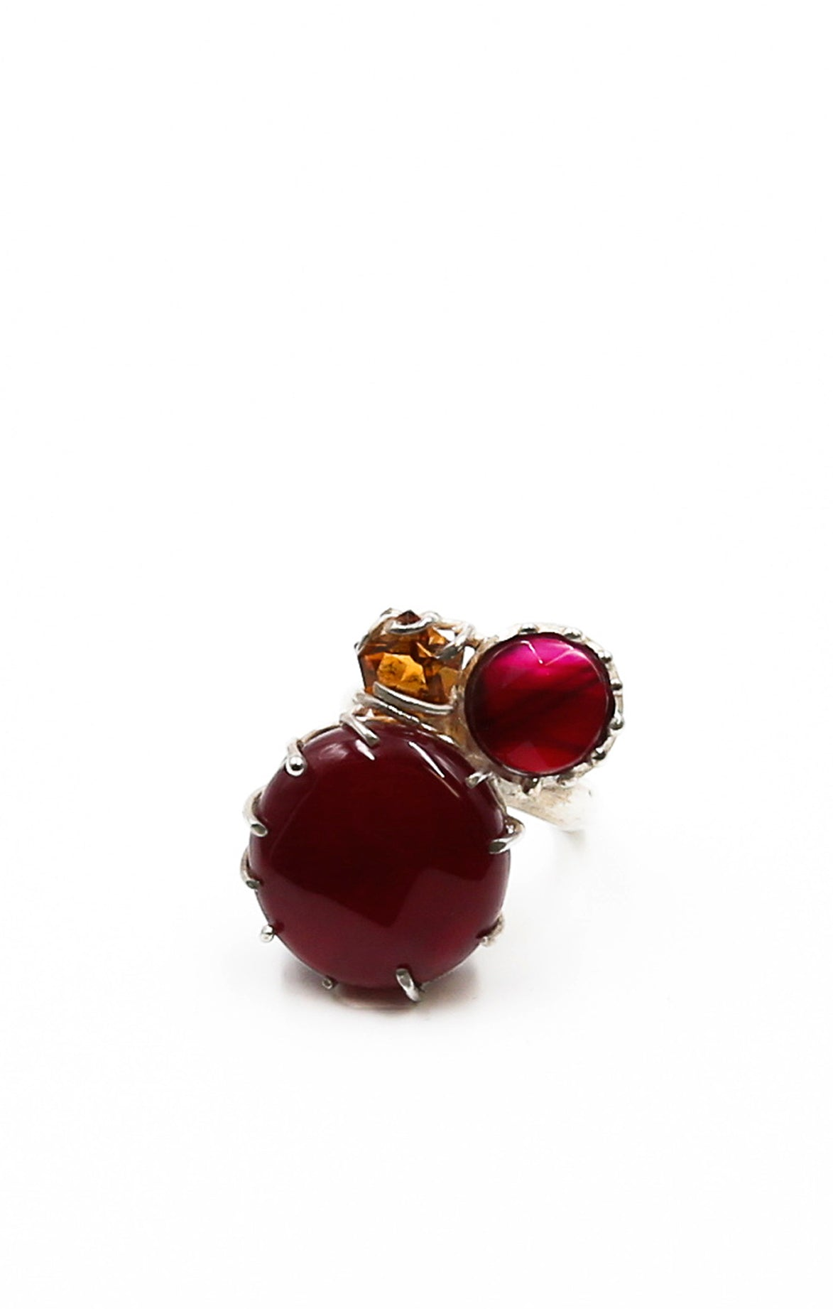 Red Agate and Yellow Topaz Ring