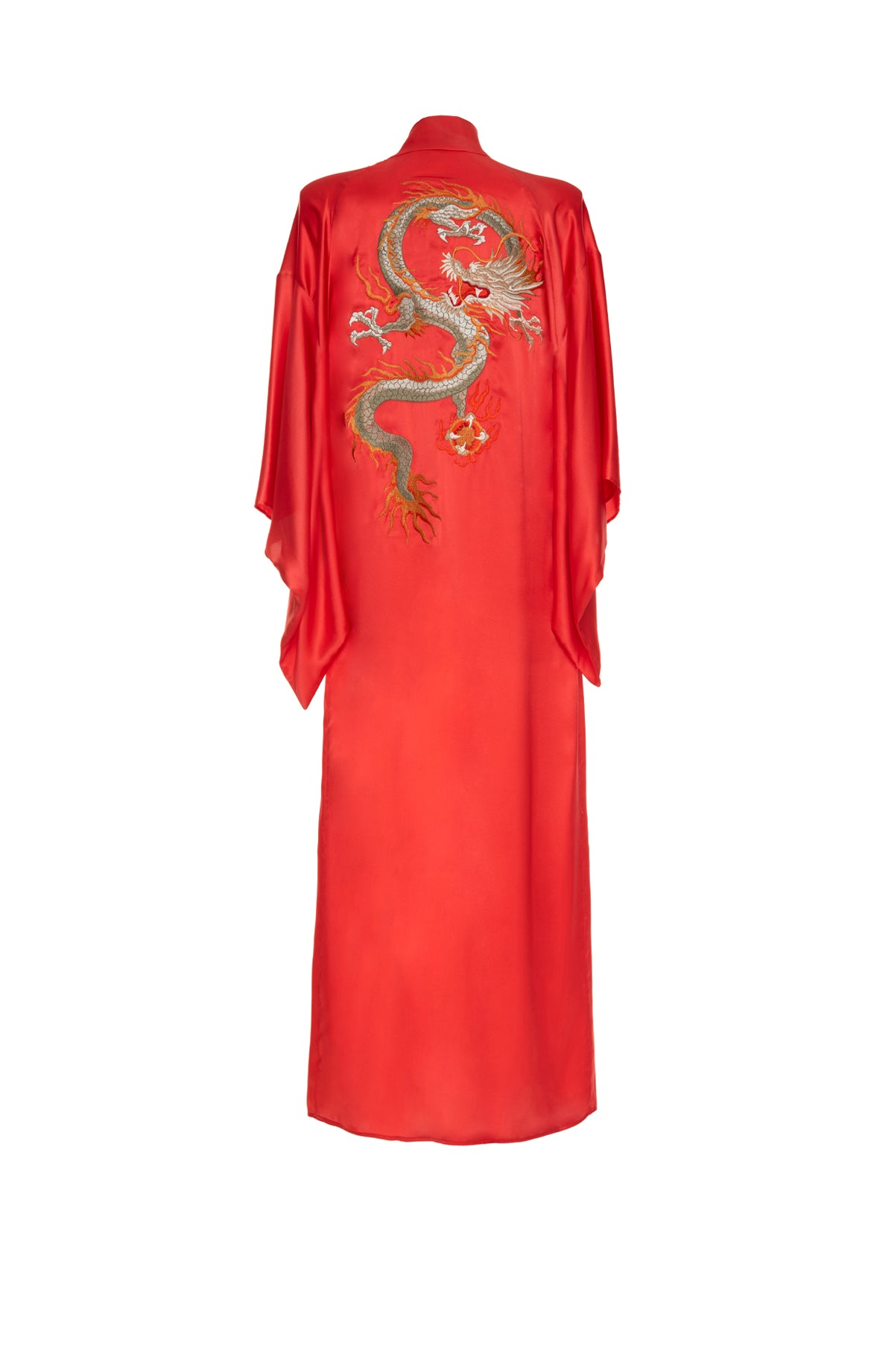 Long Kimono Embroidered Dragon Red