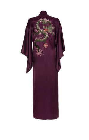 Long Kimono Embroidered Dragon Bordo