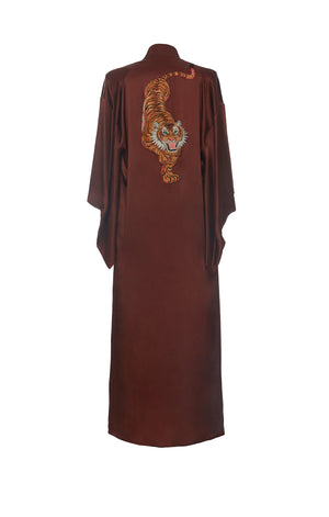 Long Kimono Embroidered Tiger Brown