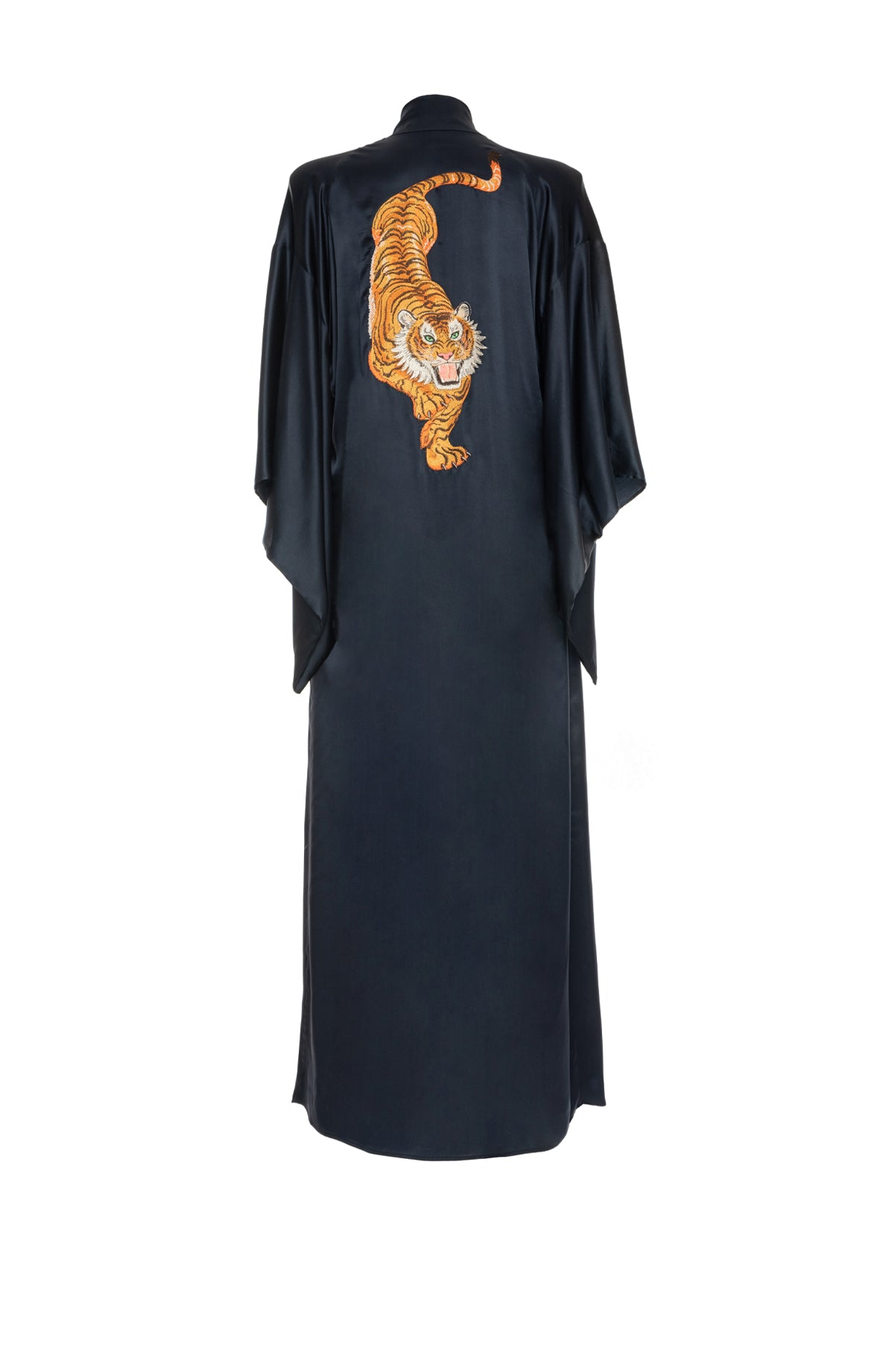 Long Kimono Embroidered Tiger Black