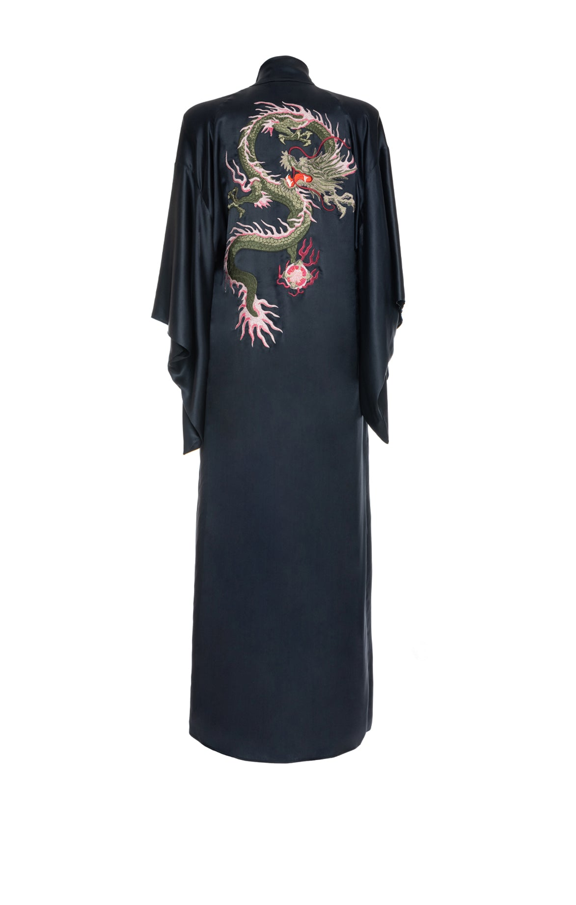 Long Kimono Embroidered Dragon Blue