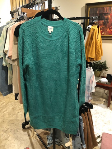 mom's teal sweater