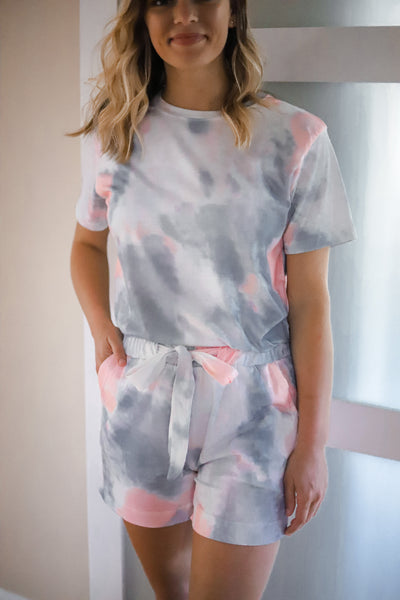 Tie Dye Two Piece Set - Grey/ Peach
