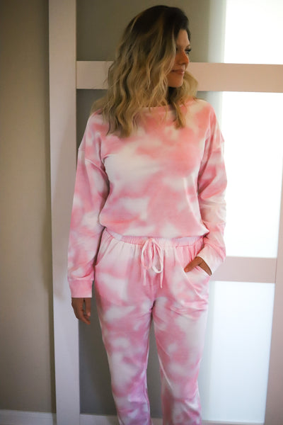 Tie Dye Two Piece Jogger Set - Pink/ White