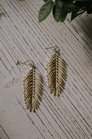 Drop Of A Feather Earrings - Gold