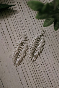 Drop Of A Feather Earrings - Silver