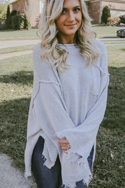 Anistyn Distressed Bell Sleeve Sweater
