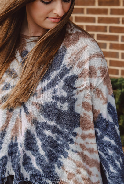 Anistyn Distressed Sweater - Navy & Taupe Tie Dye