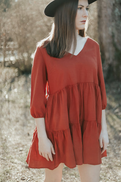 Lighter Than Air Flowy Dress - Rust