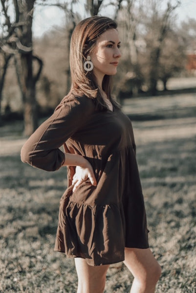 Lighter Than Air Flowy Dress - Brown
