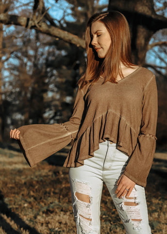 In My Feels Ruffled Ribbed Knit Top