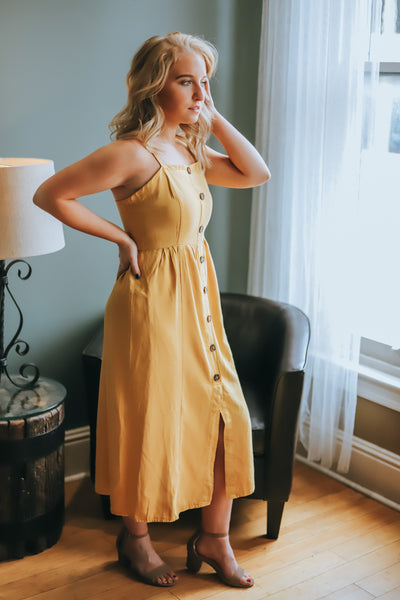 Hello Darling Button Down Dress - Mustard