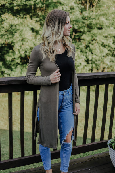 Every Day Cardigan - Heather Olive