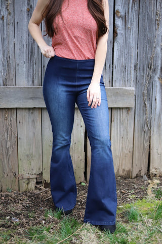 On The Move Dark Wash Flare Jeans