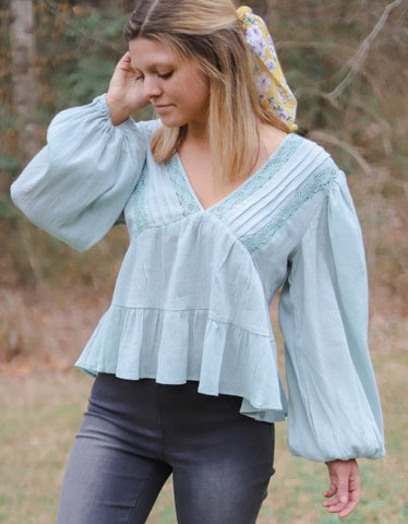 Breath Of Fresh Air Sage Blouse