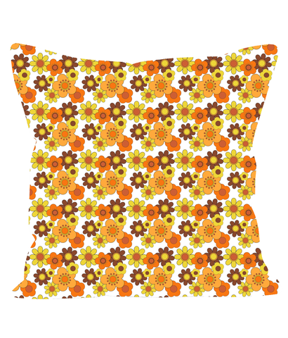 Retro Vintage Throw Cushion with Orange Flowers on a White Background. 1960's 1970's Style.