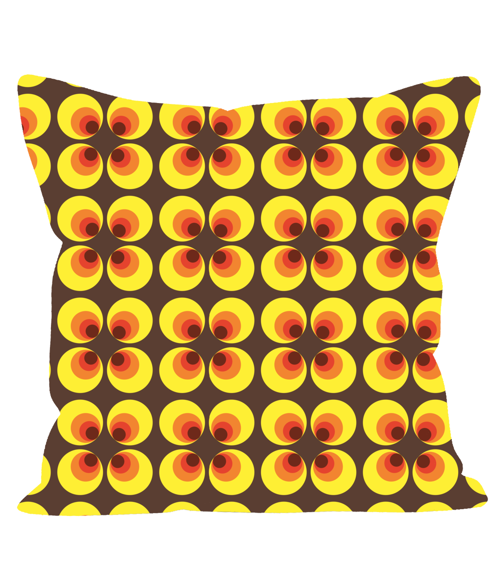 Retro Vintage Throw Cushion with Geometric Circle Pattern in 1960's 1970's Style.