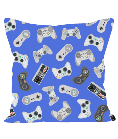 Retro Gaming Cushion in Blue. 80's 90's Style.