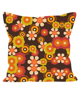 Retro Vintage Style Throw Cushion in an Orange and Brown Floral Pattern. 1960's 1970's Style.