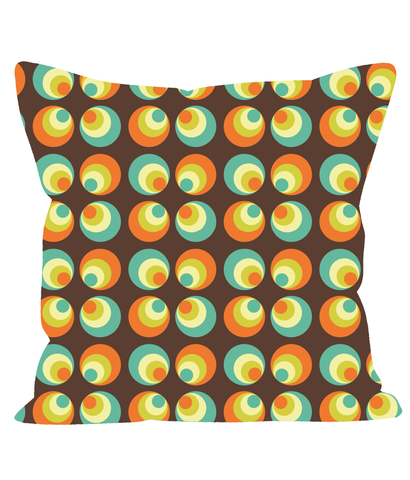 Retro Vintage Patterned Throw Cushion with Geometric Circles. 1960's 1970's Style.