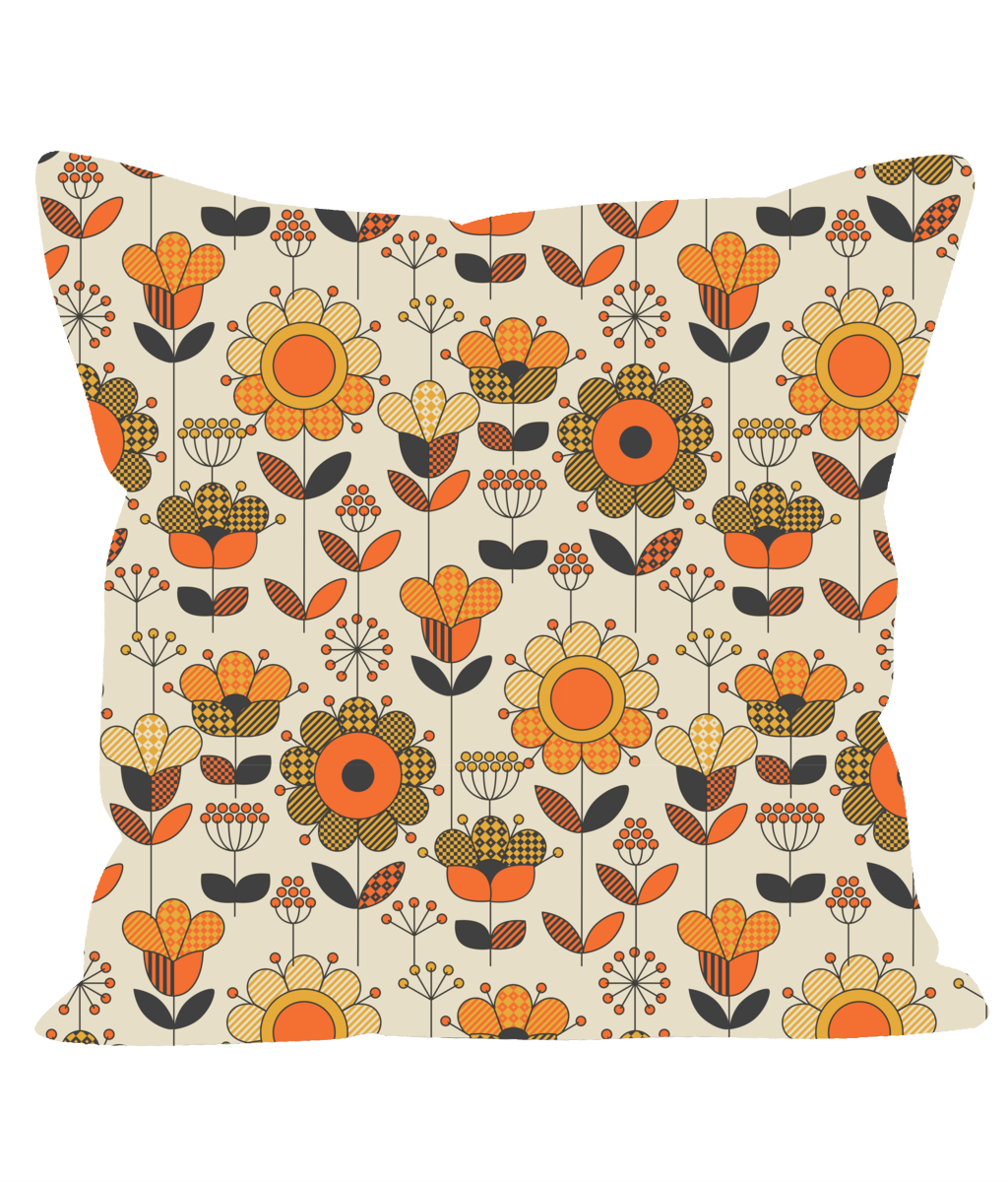 Retro Vintage Throw Cushion in an Orange and Brown Floral Pattern