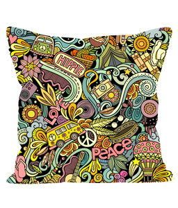 Retro Cushion with Hippie Style Psychedelic Print in Multi-Colours.