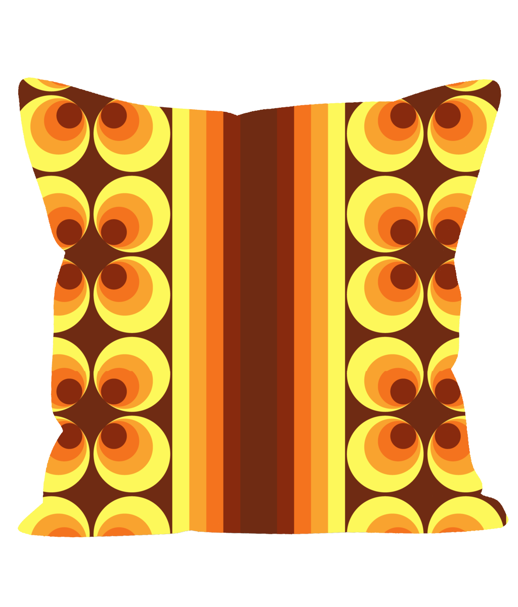 Retro Vintage Orange Geometric Cushion with Stripes and Circles.