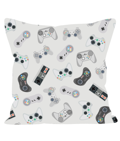 Retro Gaming Cushion in White. 80's 90's Style Games Consoles.