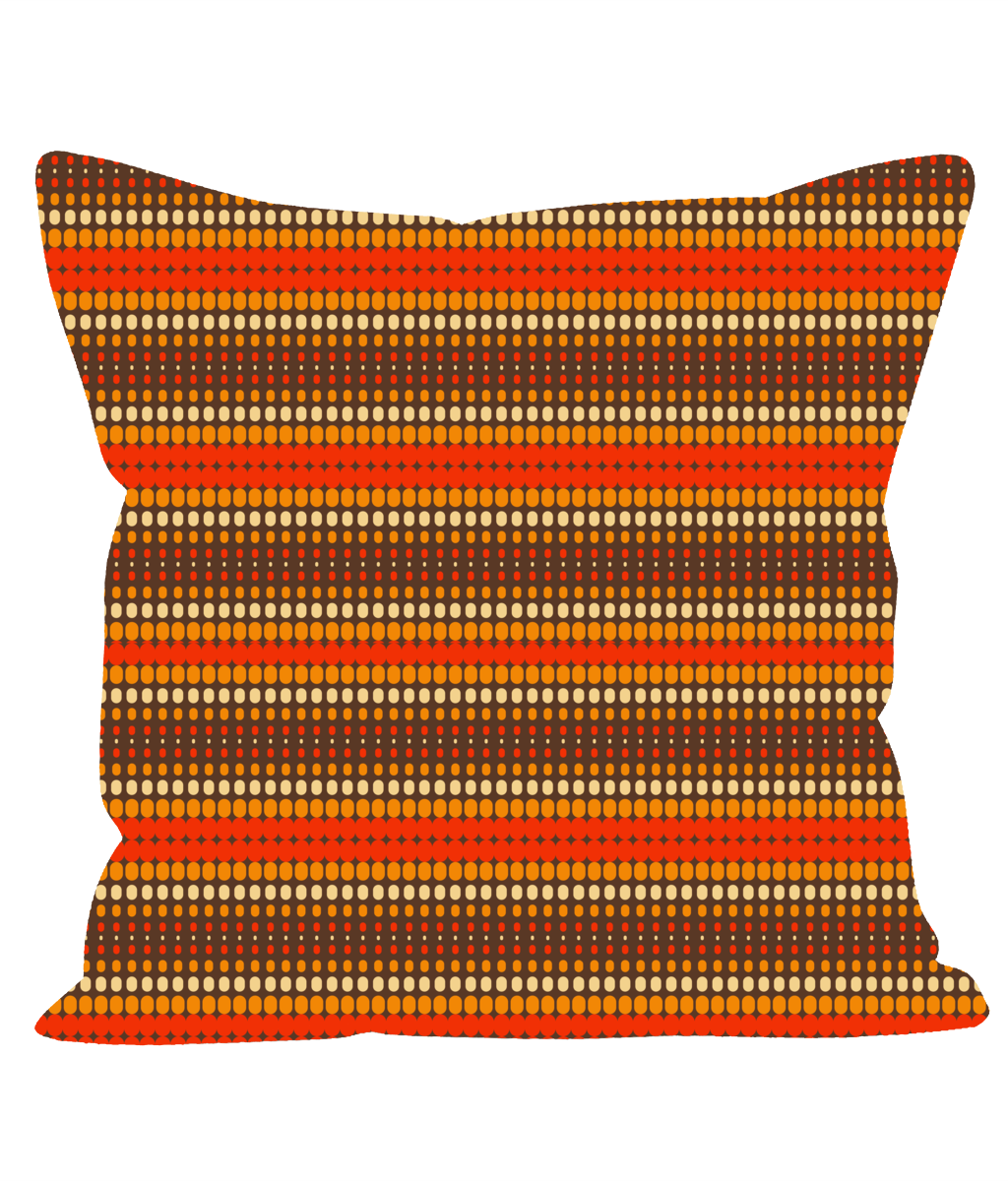 Retro Vintage Throw Cushion with Brown and Orange Stripes. 1960's 1970's Style.