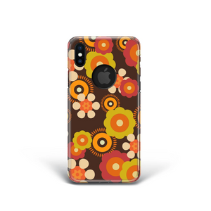 Phone case with orange yellow and brown flowers
